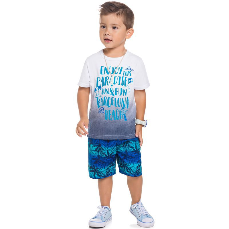 Conjunto Camiseta E Bermuda Infantil Masculino BG 15385