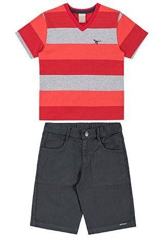 Conjunto Camiseta E Bermuda Infantil Menino BG45721*