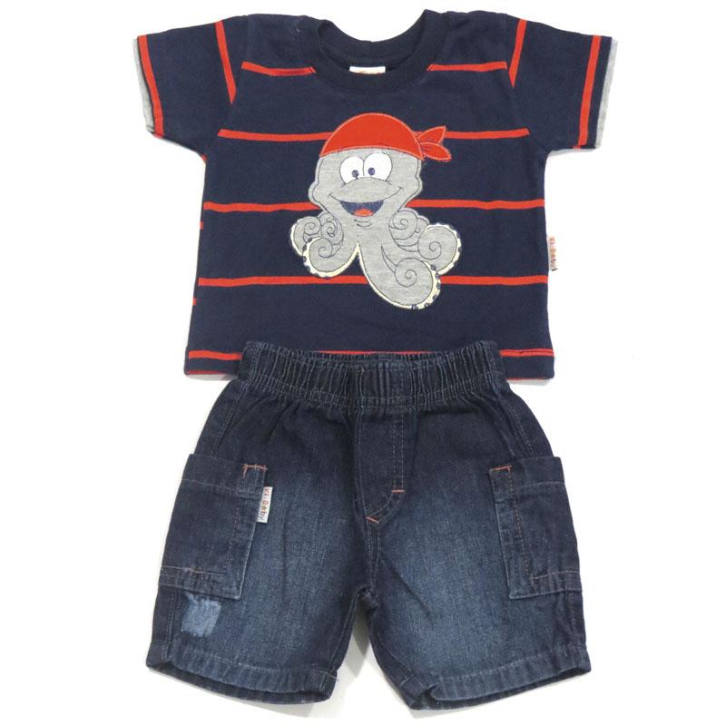 Conjunto Camiseta e Bermuda Jeans Infantil Menino Ki-Baby