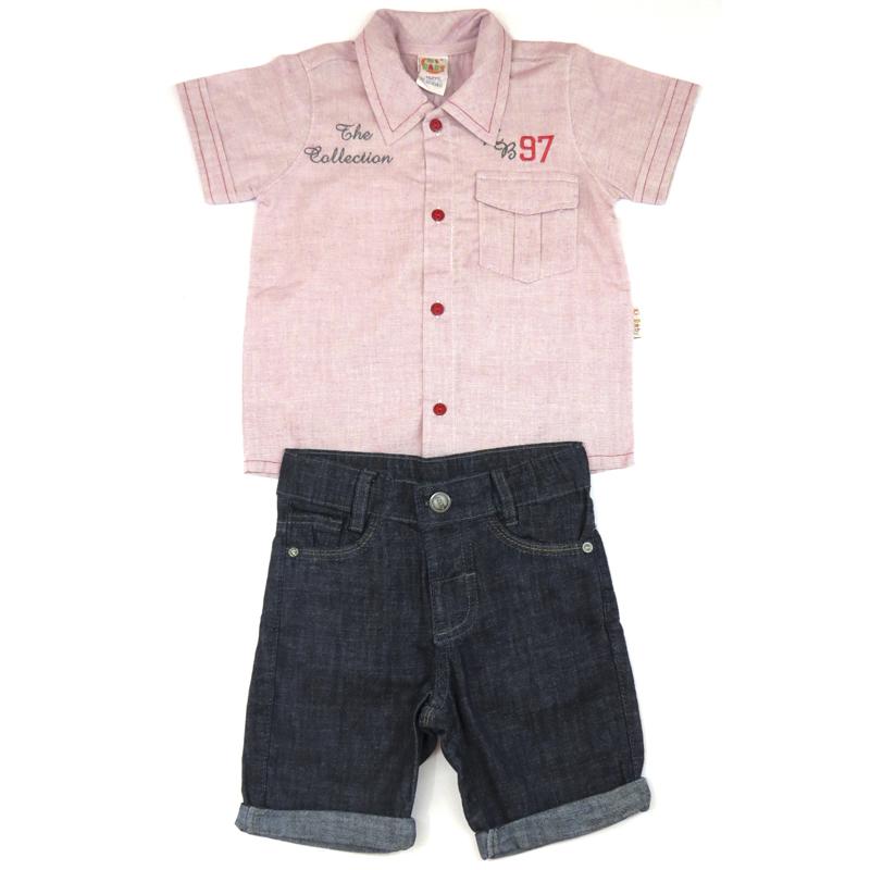 Conjunto de Camisa e Bermuda Jeans Infantil Menino Ki-Baby