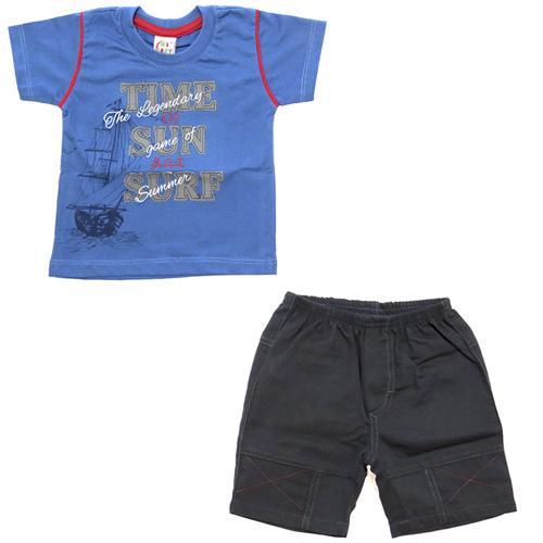 Conjunto de Camiseta e Bermuda Infantil Menino Ki-Baby