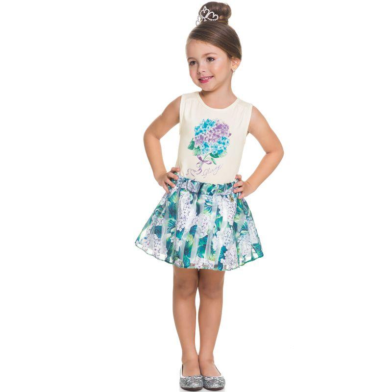 Conjunto Infantil Feminino Baby Look e Saia Shorts BG/G21057