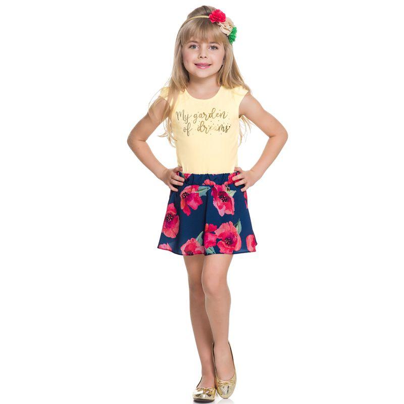 Conjunto Infantil Feminino Baby Look e Saia Shorts BG/G22088