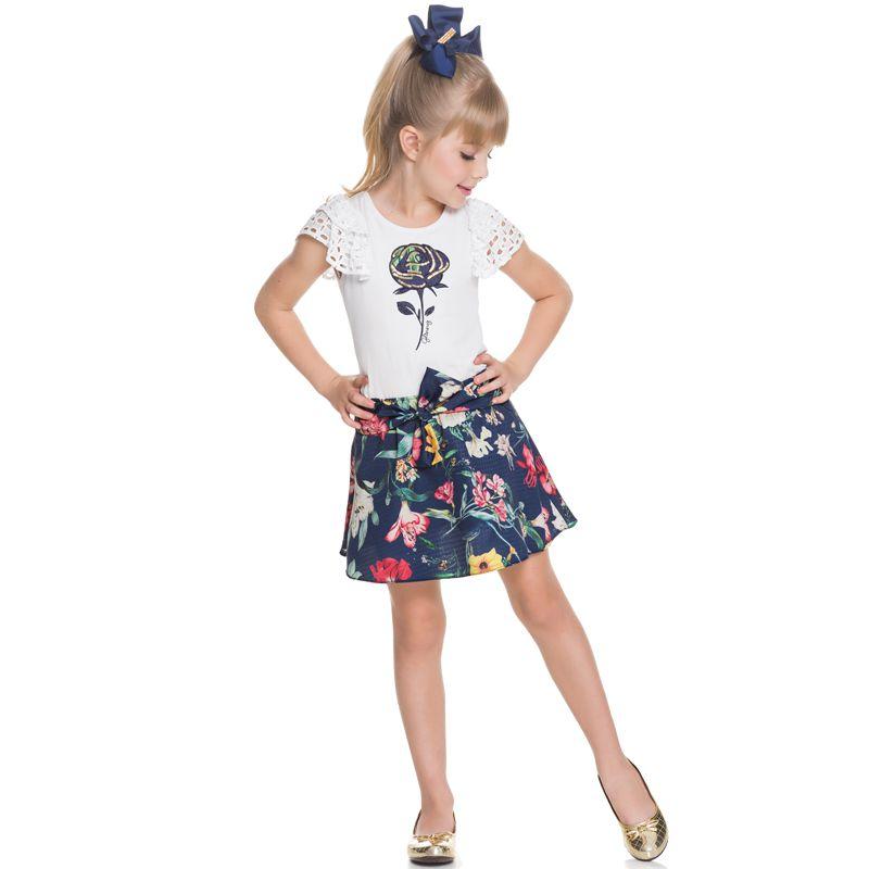 Conjunto Infantil Feminino Blusa e Saia Floral BG/G22095*