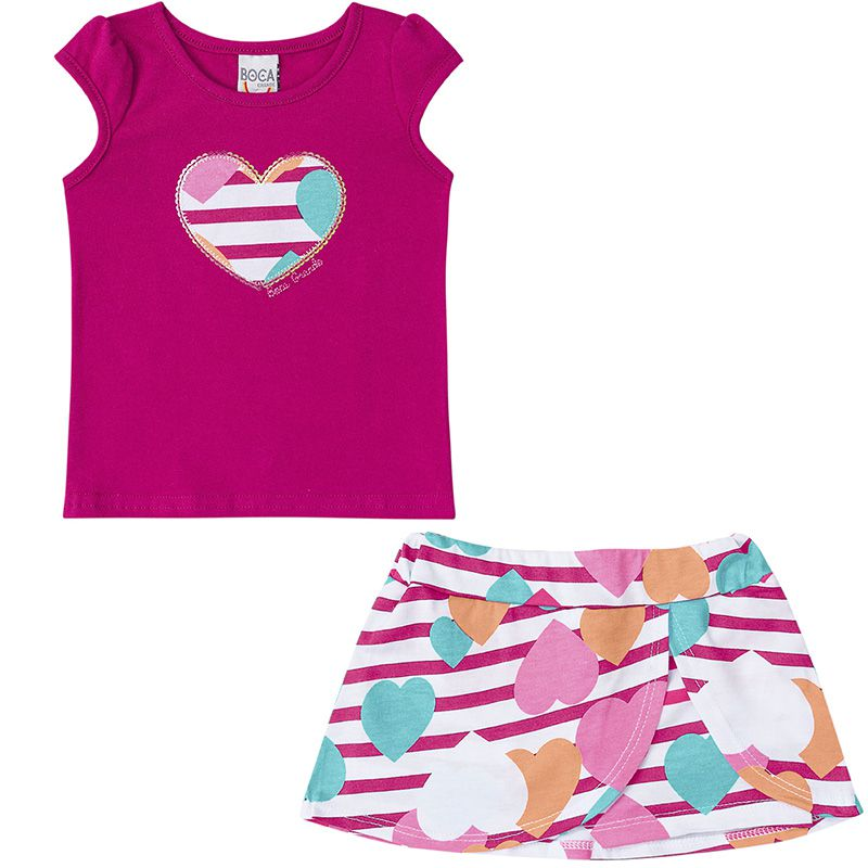 Conjunto Infantil Feminino Blusa e Shorts Saia Amora BG12442*