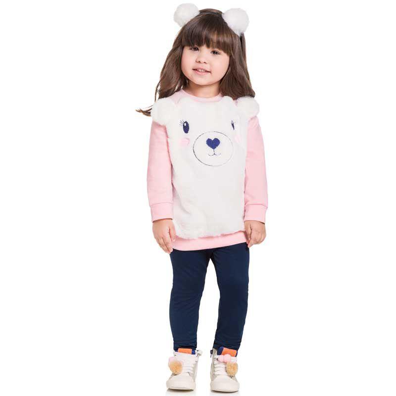 Conjunto Infantil Feminino Blusão e Legging Urso BG/G21061*