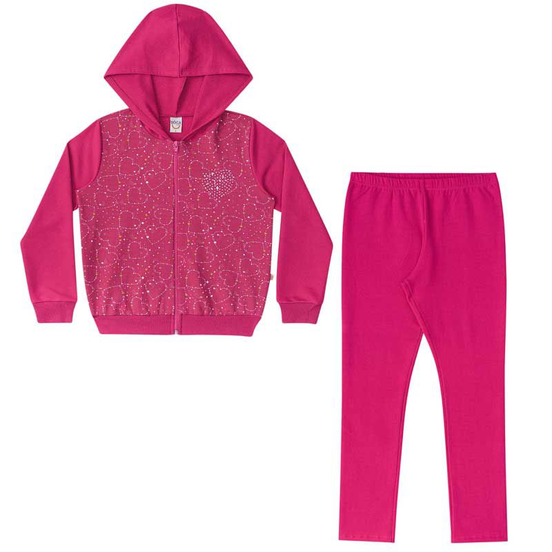 Conjunto Infantil Feminino Casaco e Legging Estrela BG42426
