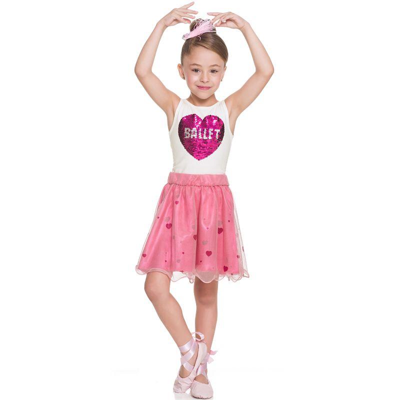 Conjunto Infantil Feminino Collant e Saia BG/G51218