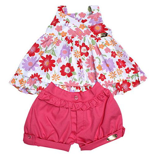 Conjunto Infantil Feminino Flores Mira Baby MB10346