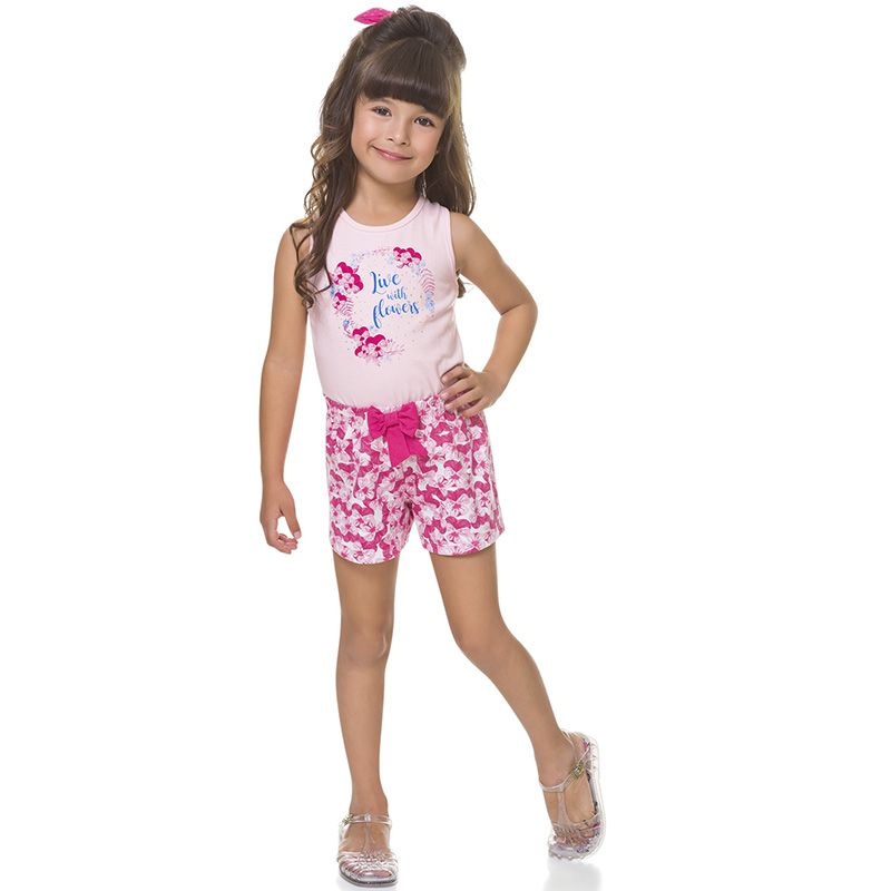Conjunto Infantil Feminino Flowers Regata e Shorts BG42096