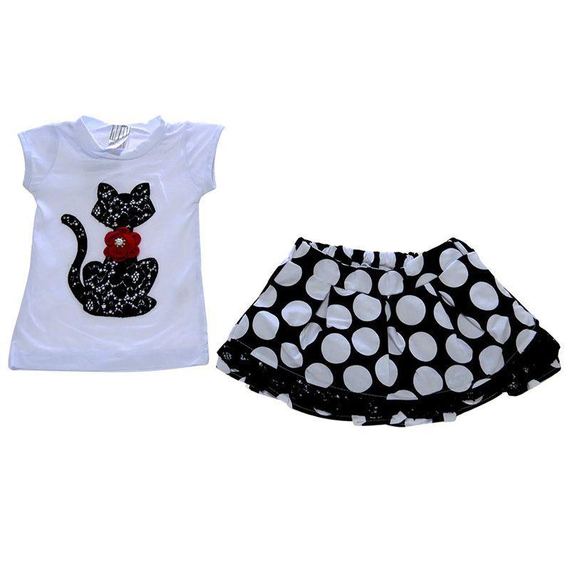 Conjunto Infantil Feminino Gatinha Blusa e Saia MB10345*