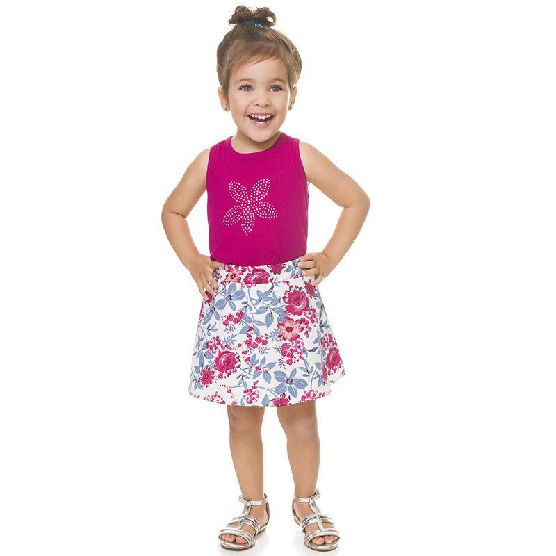 Conjunto Infantil Feminino Regata e Saia Shorts Boca Grande BG13623
