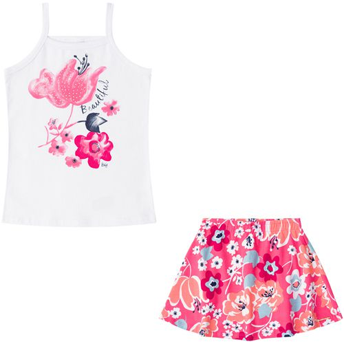 Conjunto Infantil Feminino Regata e Shorts Saia Boca Grande BG42372