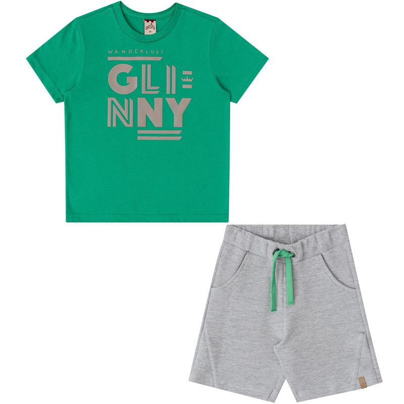 Conjunto Infantil Masculino Camiseta E Bermuda BG/G 31061