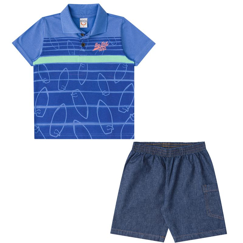 Conjunto Infantil Masculino Polo E Bermuda Boca Grande BG15387*