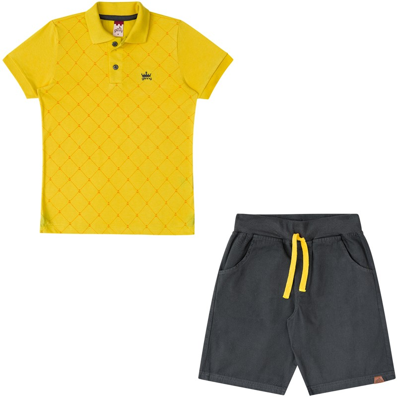 Conjunto Infantil Masculino Polo e Bermuda Boca Grande 32045