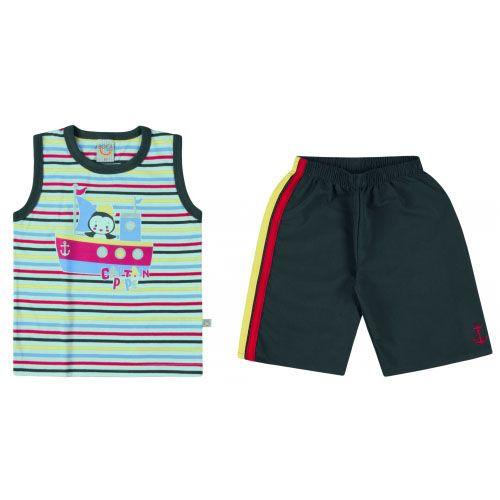 Conjunto Infantil Masculino Regata e Bermuda Boca Grande BG17701*