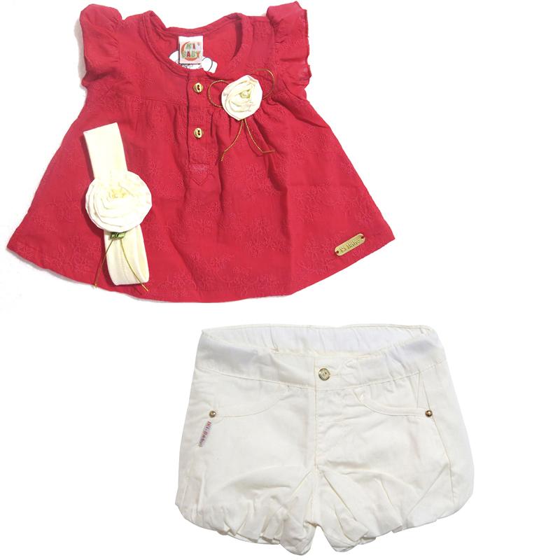 Conjunto Infantil Menina Bata e Shorts Ki-Baby