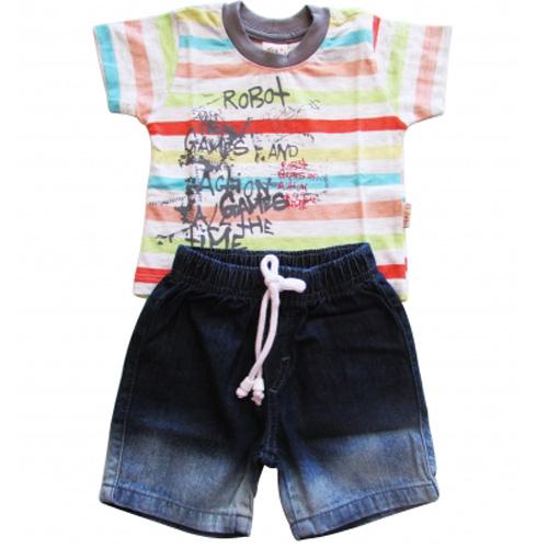 Conjunto Infantil Menino Camiseta e Bermuda Jeans Ki-Baby 644