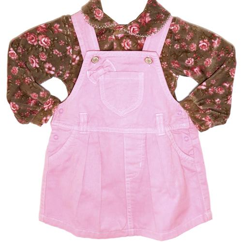 Jardineira Saia Jeans e Casaco Infantil Menina Ki-Baby 13040