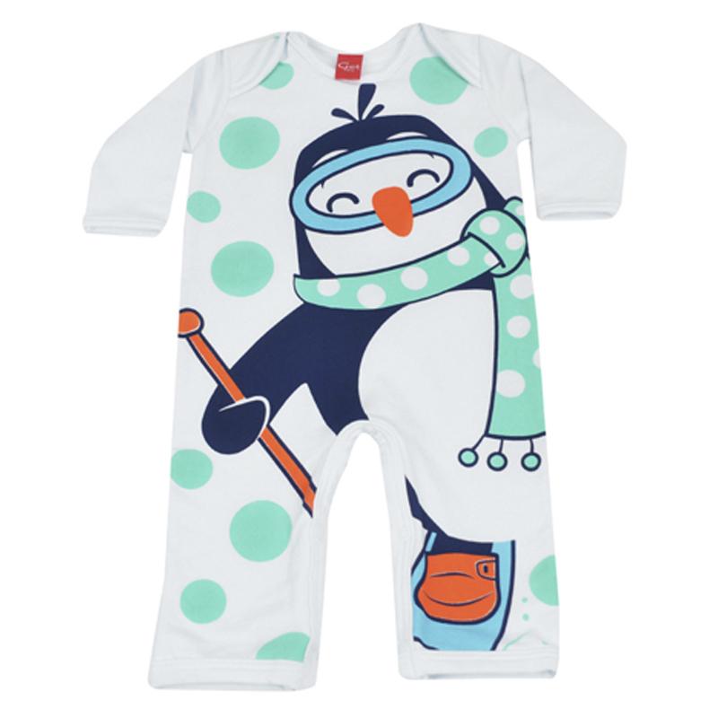 Macacão Infantil Menino Estampa Pinguim Get Baby