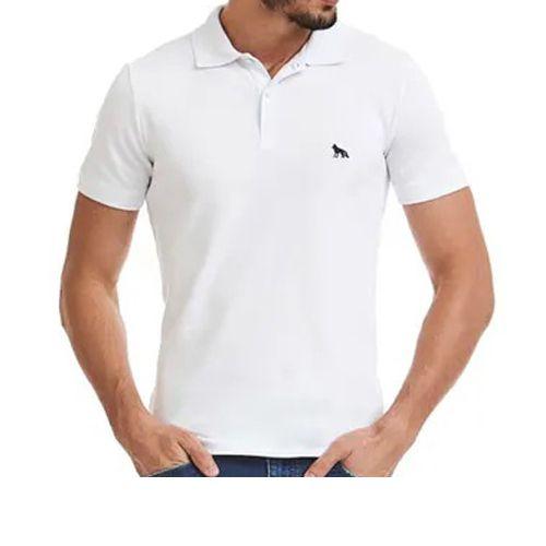 Polo Masculina Manga Curta Camisa Acostamento Branca 8592