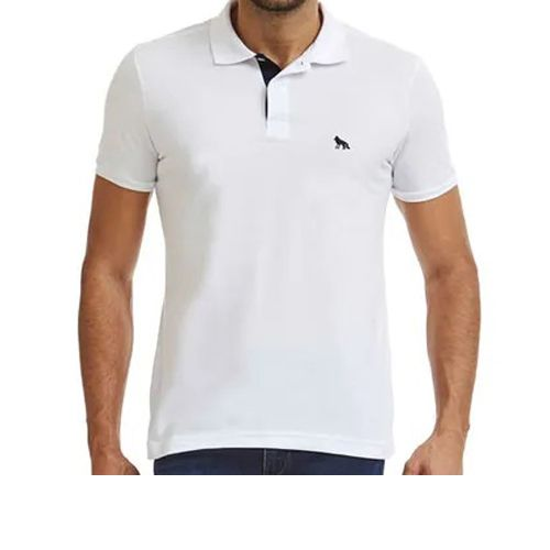 Polo Masculina Manga Curta Camisa Acostamento Branco 8591