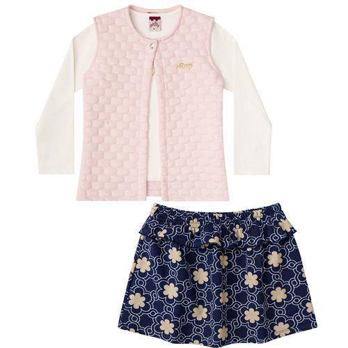 Conjunto Infantil Feminino Baby Look, Saia e Colete BG22118