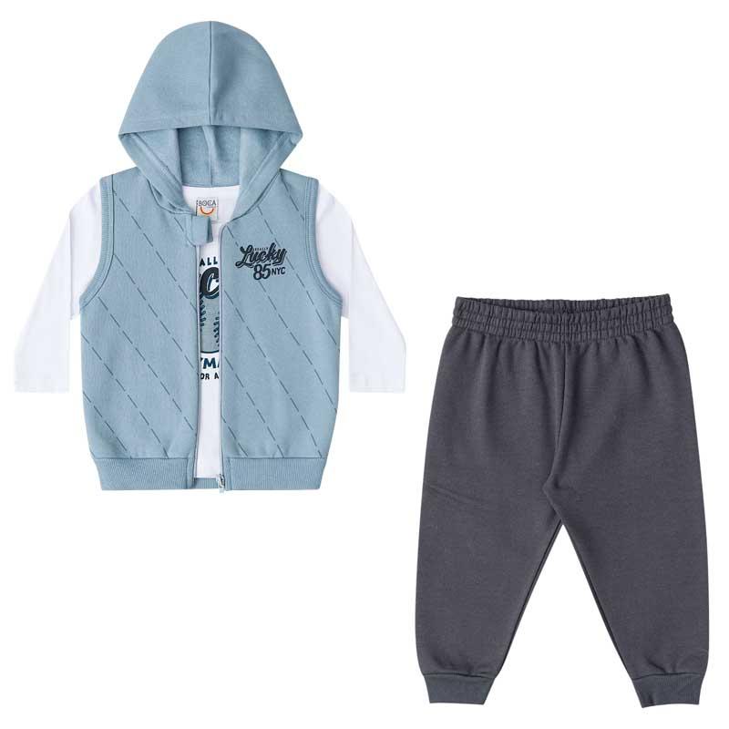 Trijunto Infantil Masculino Bebê Camiseta, Colete e Calça Moletom Boca Grande