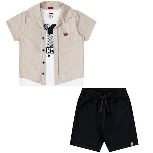 Conjunto Infantil Masculino Camisa, Regata E Bermuda BG31059