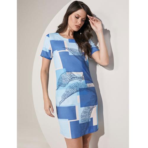 Vestido Curto Lado Avesso Geométrico
