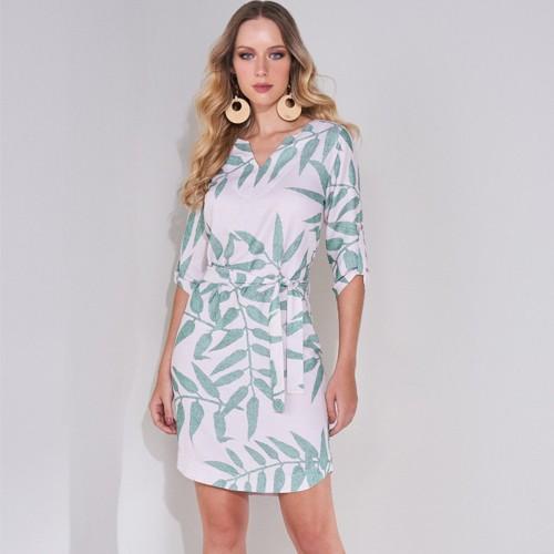Vestido Feminino Curto Estampa Folhas Lado Avesso