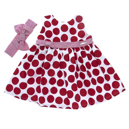 Vestido Infantil Bebê Menina Poá Mira Baby MB354