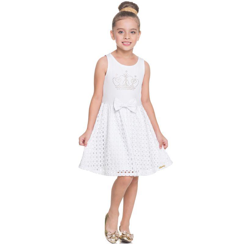 Vestido Infantil Feminino Branco BG/G22097