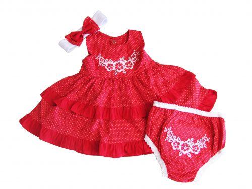 Vestido Infantil Feminino Verão Vermelho Ki-Baby KB661*