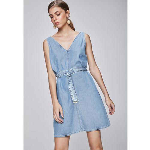 Vestido Médio Jeans com Cinto Damyller