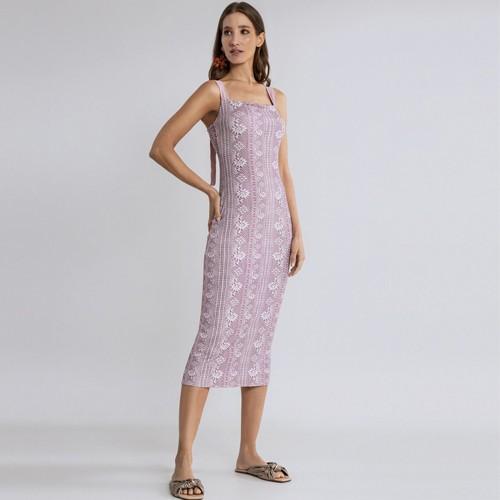 Vestido Malha Canelado Wave Midi Rendas