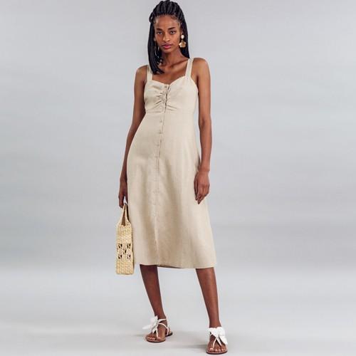 Vestido Tecido Linho Washed Plus Midi Arisona Lez a Lez 2675L