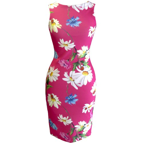 Vestido Tubinho Feminino Floral Pink 240096