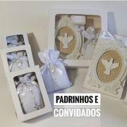 Lembrança Batizado Padrinhos 4 Caixas Sachê Quadro+6 Sachês