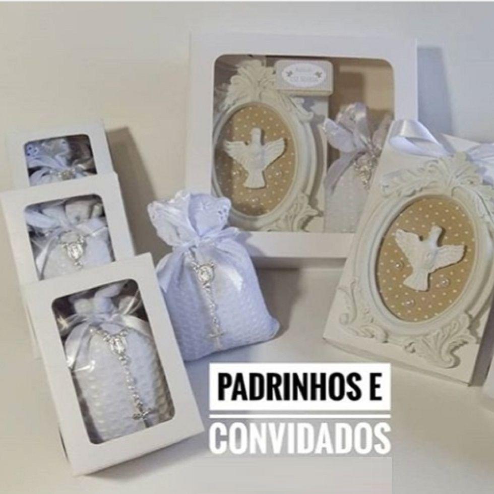 Lembrança Batizado kit 10 Sachês Caixa Personalizada e 2 Caixas Padrinhos Sachê e Quadrinho