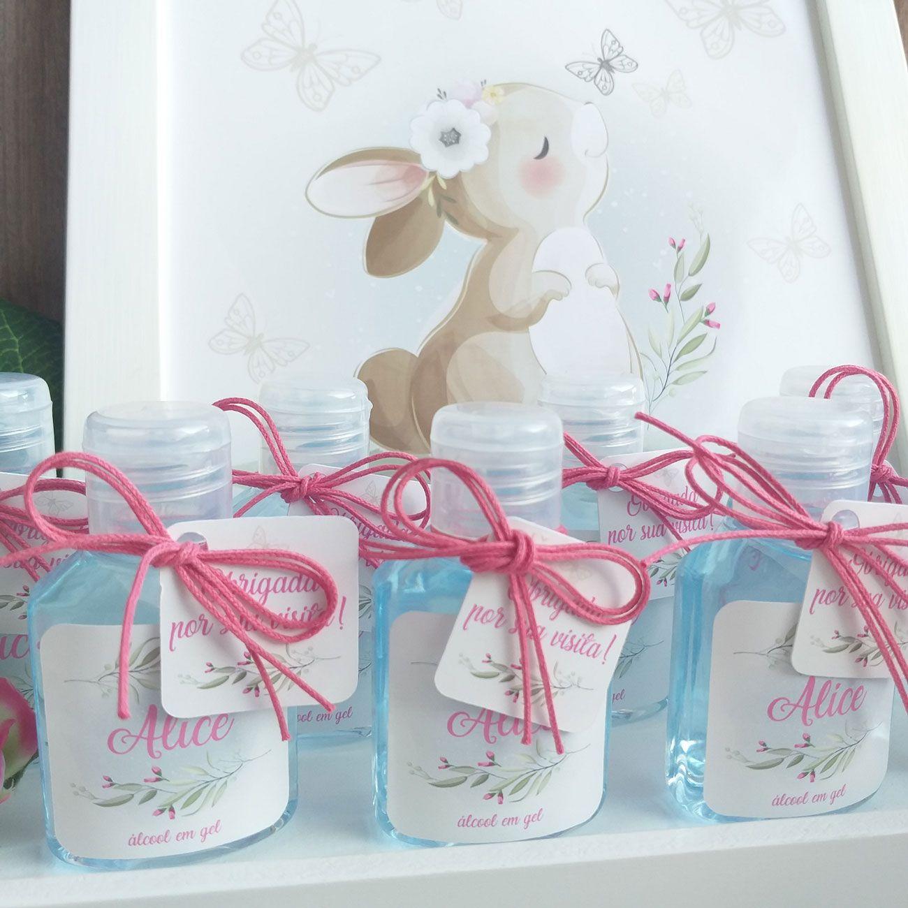 Lembrancinhas de Maternidade Nascimento Gel Higienizador Tag com Nome e Tema