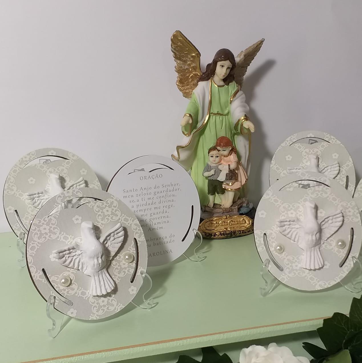Mandala do Divino Espírito Santo ou Anjo no Pedestal Lembrança Batizado