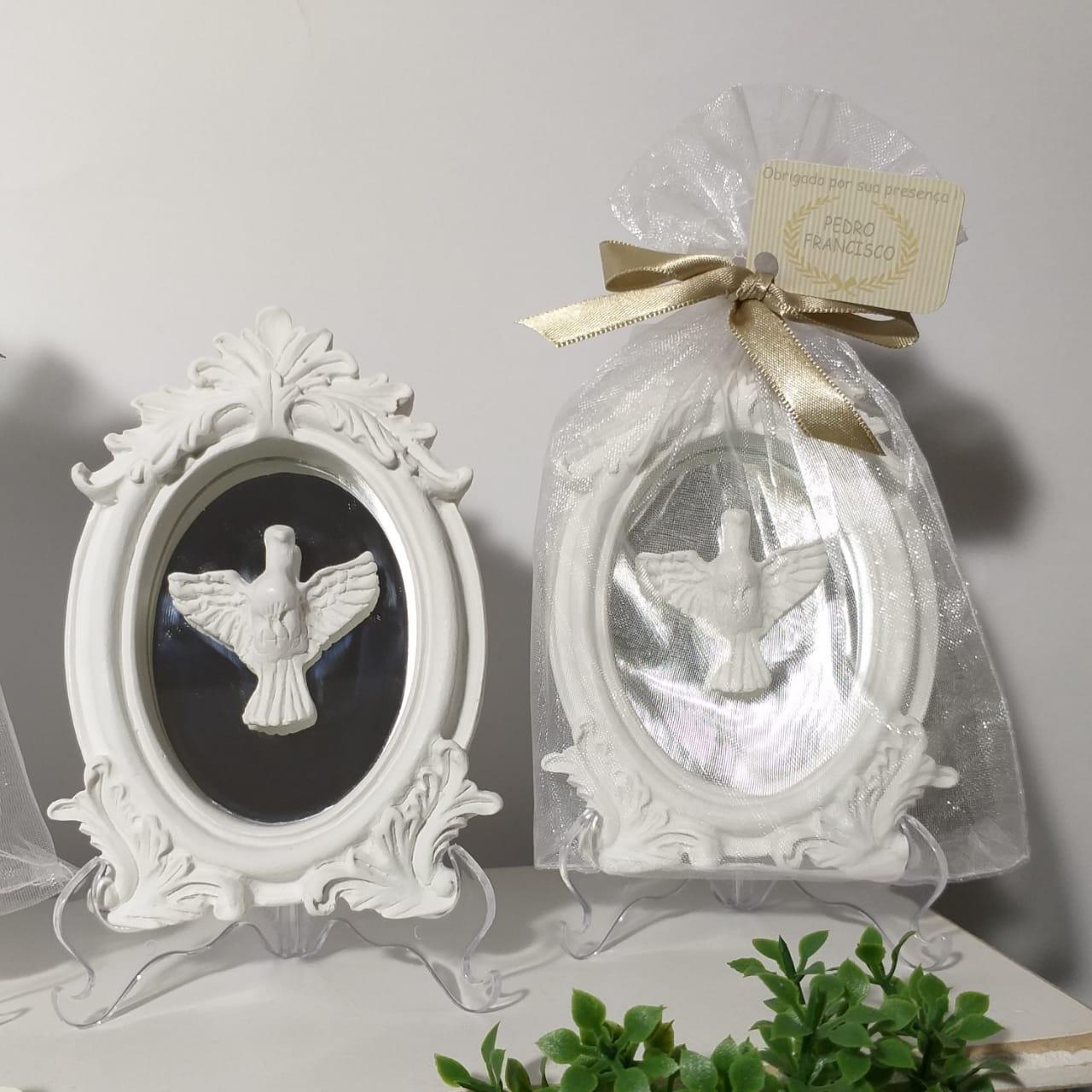 Quadro com Espelho Lembrança com Anjo ou Divino.