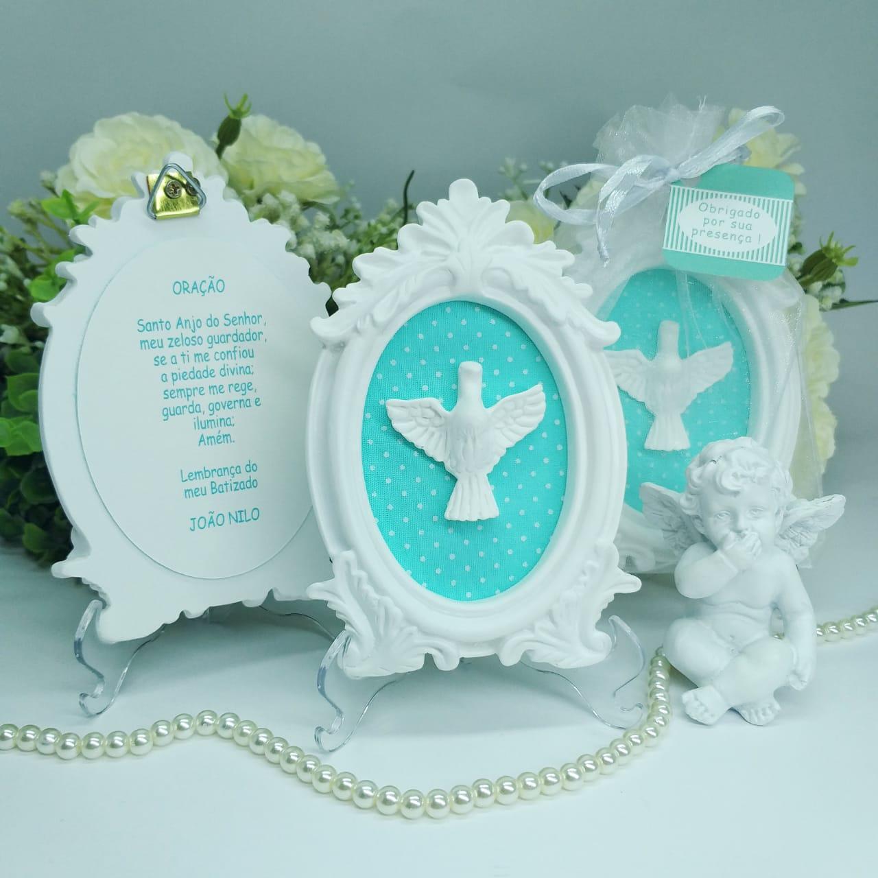Quadro Lembrança Personalizada com Embalagem de Organza e Pedestal Pronta Entrega