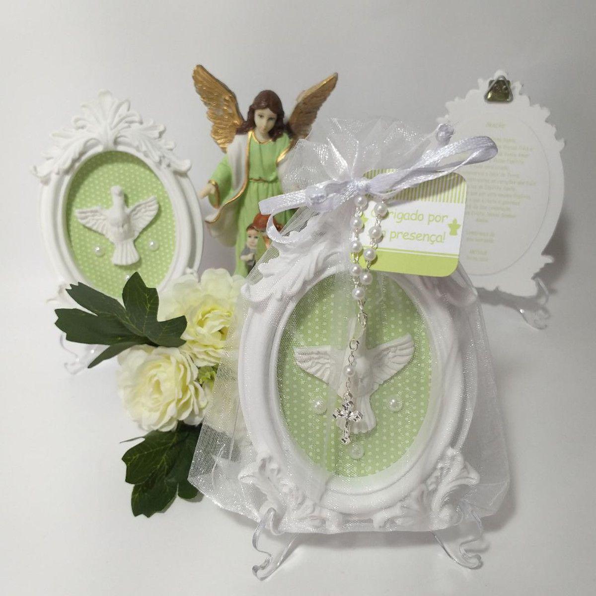 Quadro Lembrança Personalizada com Embalagem de Organza Batizado Personalizado Pronta Entrega