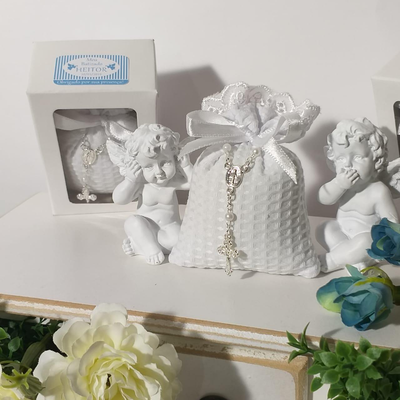 Sachê Perfumado com Mini Terço na Caixinha Personalizada Batizado e Maternidade Pronta Entrega