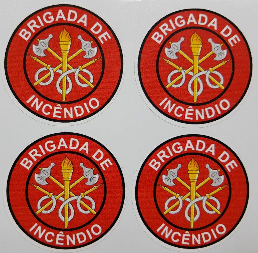 Adesivo plastificado, emblema Brigada de Incêndio (pack com 4 unidades)  - CONEXÃO EPI´S E UNIFORMES PROFISSIONAIS