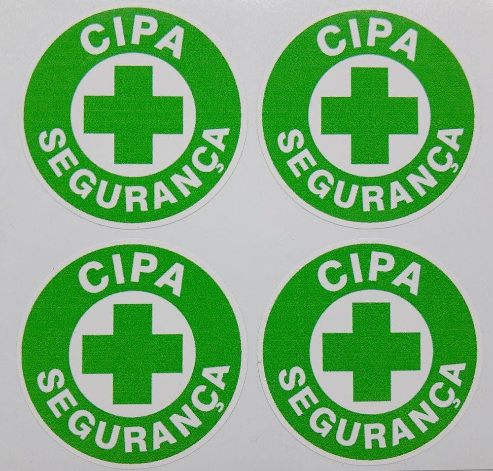 Adesivo plastificado, emblema CIPA Segurança (pack com 4 unidades)  - CONEXÃO EPI´S E UNIFORMES PROFISSIONAIS