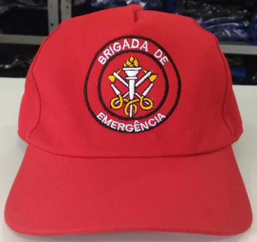 Boné de Brim, modelo Brigada de Emergência, bordado em cores  - CONEXÃO EPI´S E UNIFORMES PROFISSIONAIS